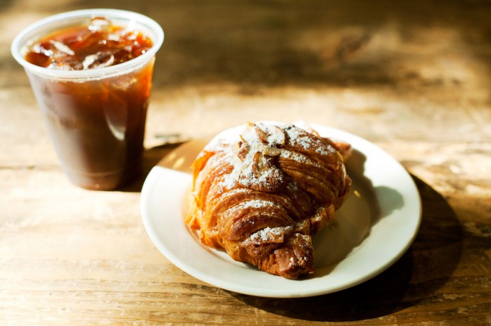 almond croissant and iced coffee