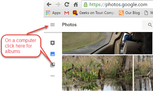 How to see Albums using Google Photos