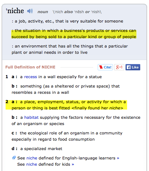 Definition of Niche - Webster Dictionary