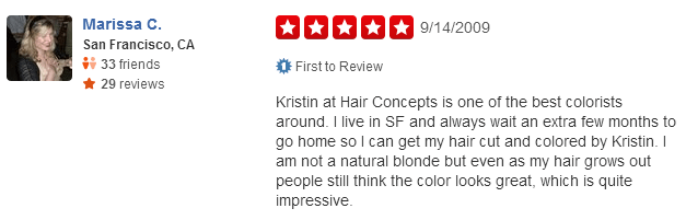 Yelp Reviews about Krist de la cruz from hair concepts