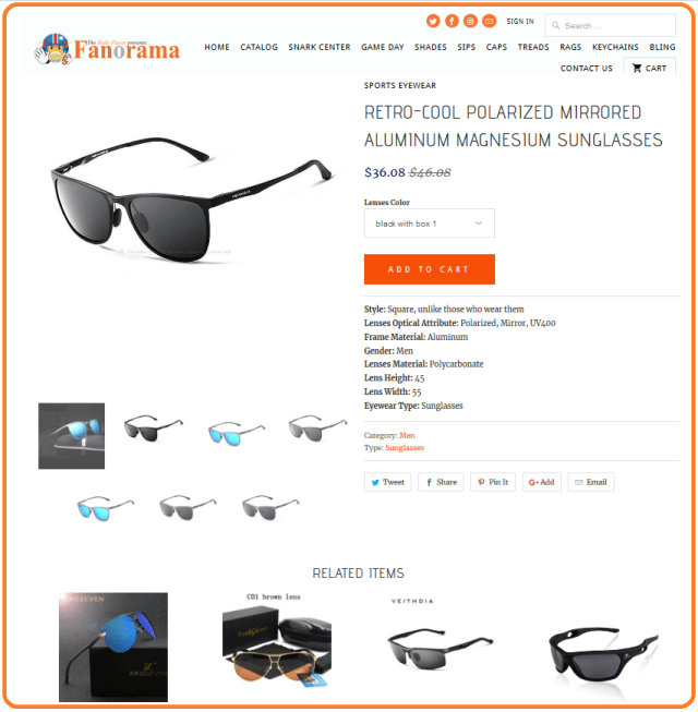 Daily Player Fanorama sunglasses shopping