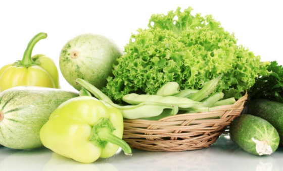raw green vegetables