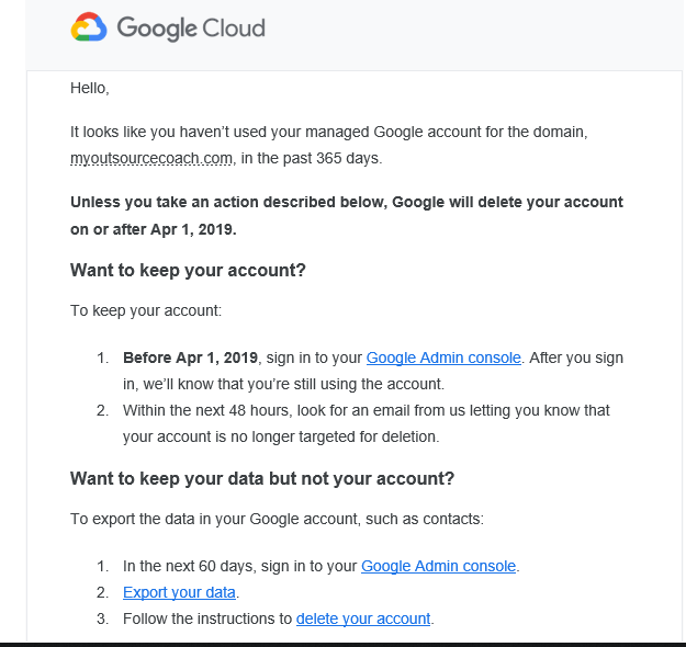 Google Suites Notification