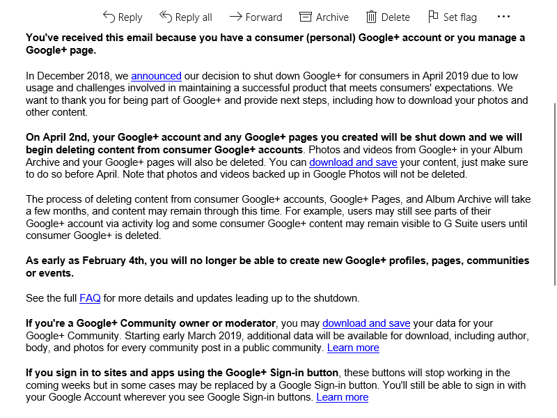 Google + Sign Off Notice