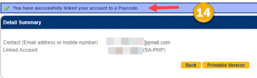 Succesfully linked account to a paycode