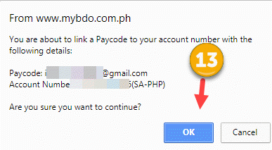 Link BDO Account to paycode