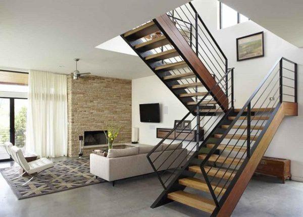 11 Ide Desain Tangga Kayu Modern Untuk Rumah Minimalis 2 Lantai