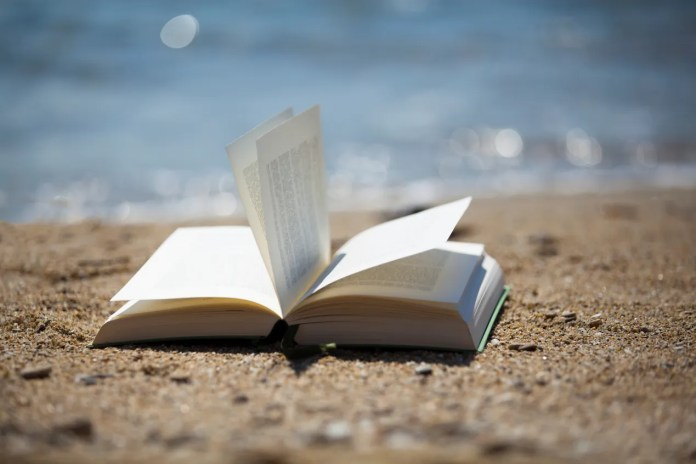 Paperback book on the beach