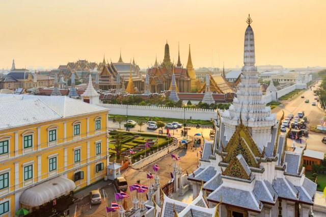 Complexo de edifícios The Grand Palace, em Bangcoc, Tailândia, um dos países mais visitados do mundo.