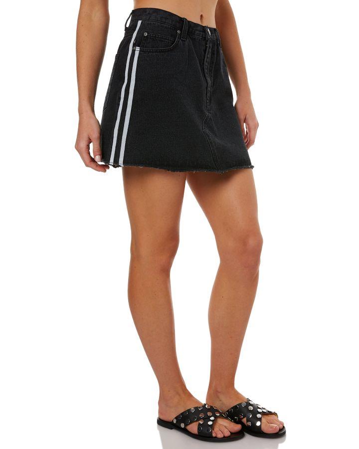 0503da5d31aa Rusty Womens Stranger Stripe Denim Skirt Aces Black Womens skirts ...