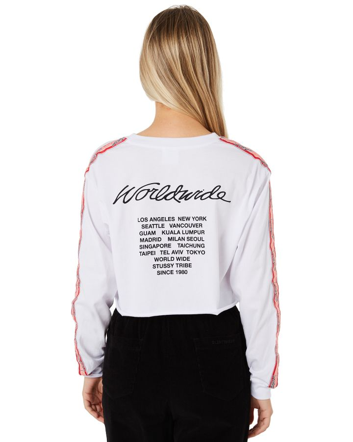 Stussy Vacation Ls Crop Tee White Womens shirts Size 14  8004dcd1d