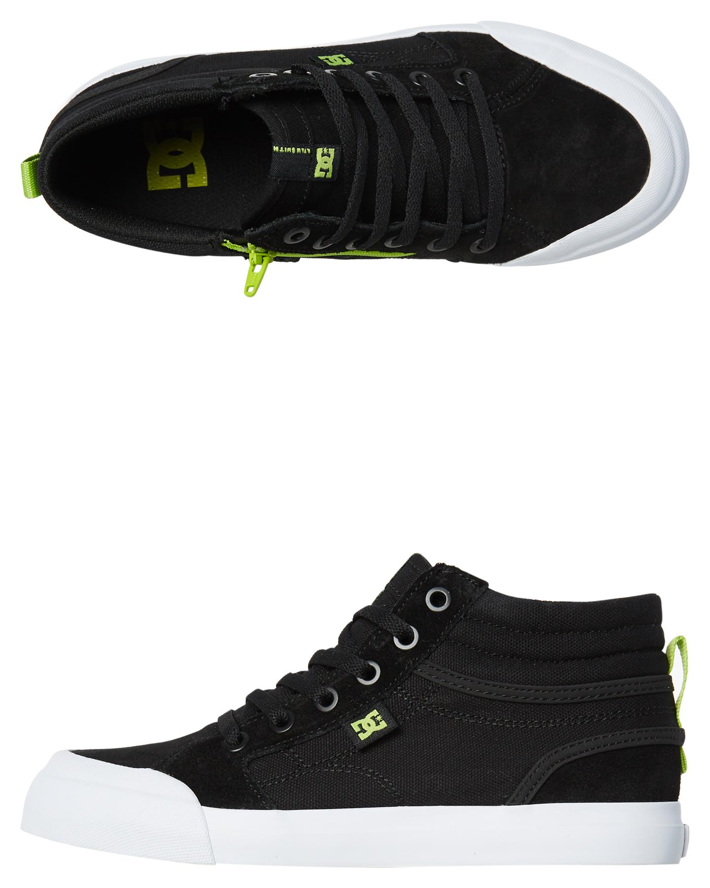 6f79bbb8a15c Dc Shoes Kids Boys Evan Hi Zip Shoe Black Lime Black Lime Baby Boys ...