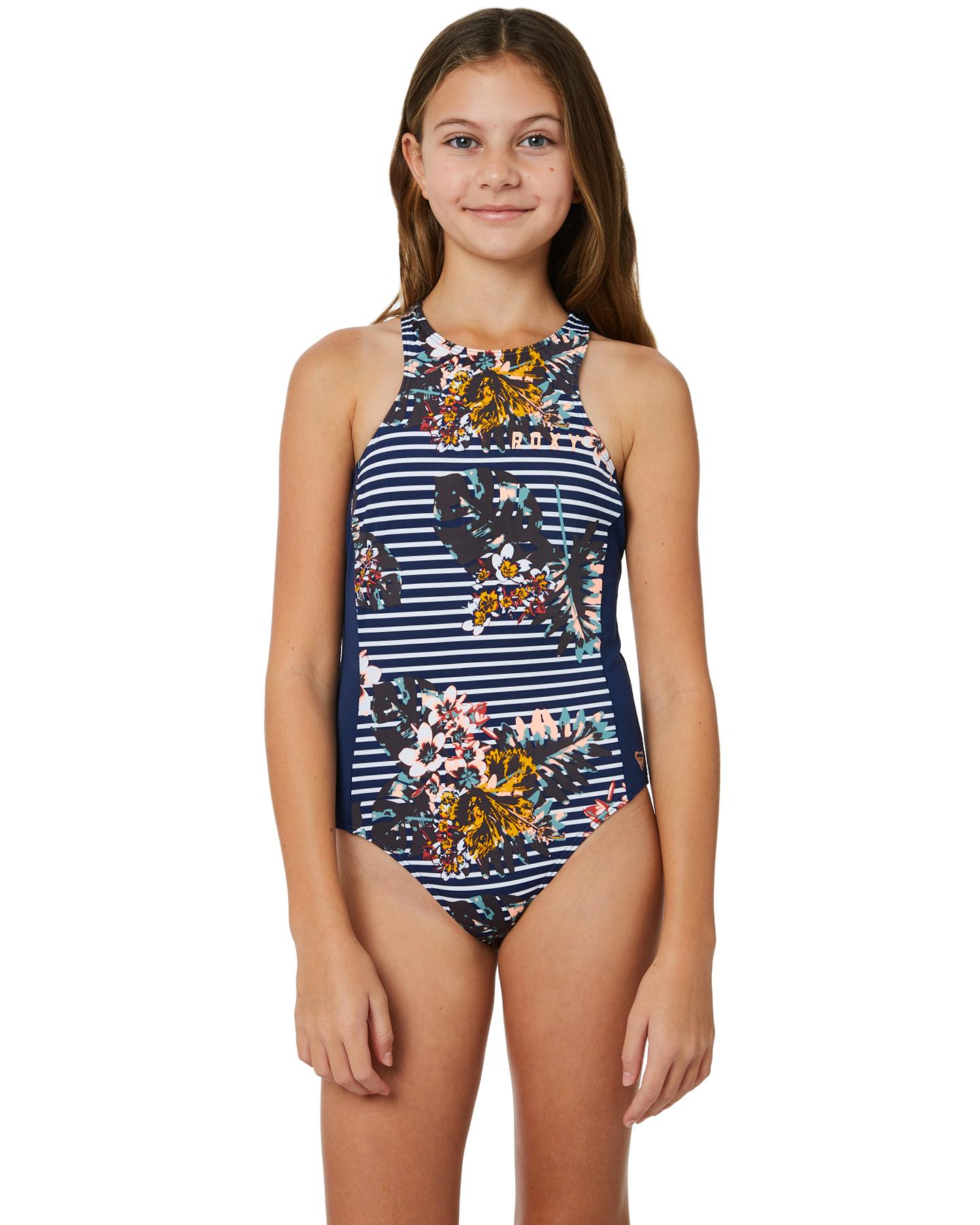 73d62100ac8b1 Roxy Keep In Flow One Piece Medieval Blue Bdwalk Girls swimsuits ...