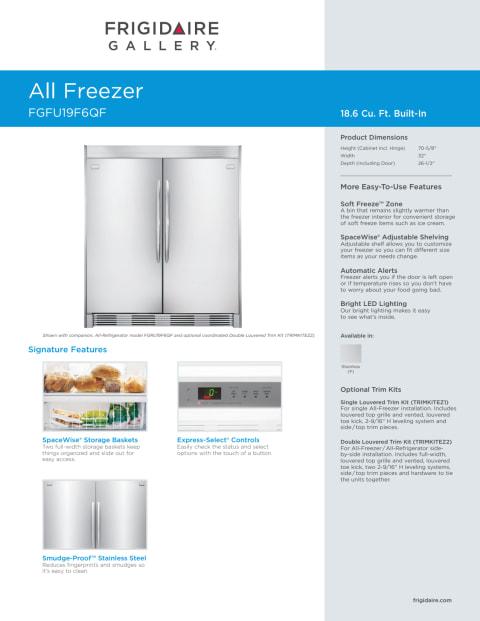 fgfu19f6qffrigidaire gallery 19 cu ft singledoor freezer
