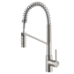 https www lowes com pd kraus bolden matte black 1 handle deck mount pull down handle lever commercial residential kitchen faucet 1000781510