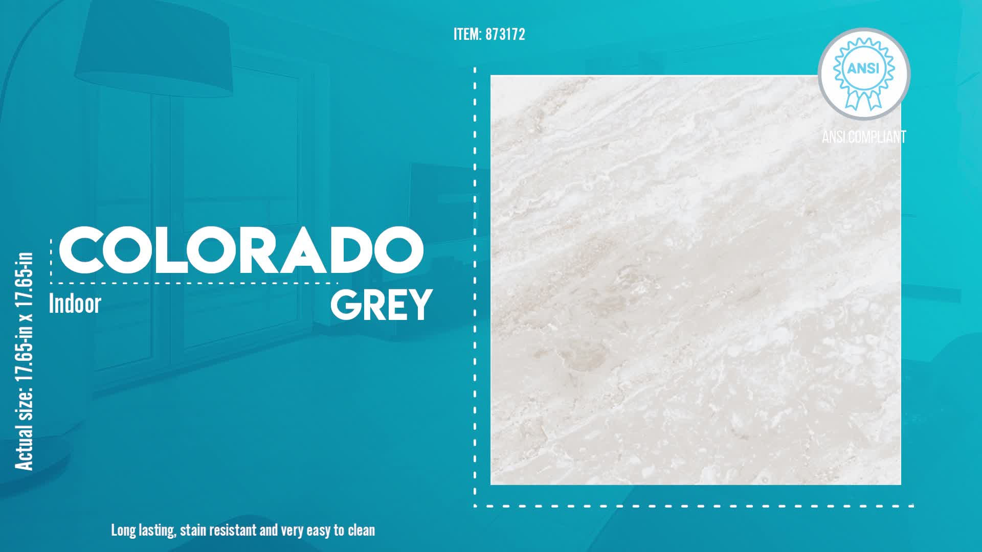 colorado grey 18 in x 18 in glazed ceramic stone look floor and wall tile