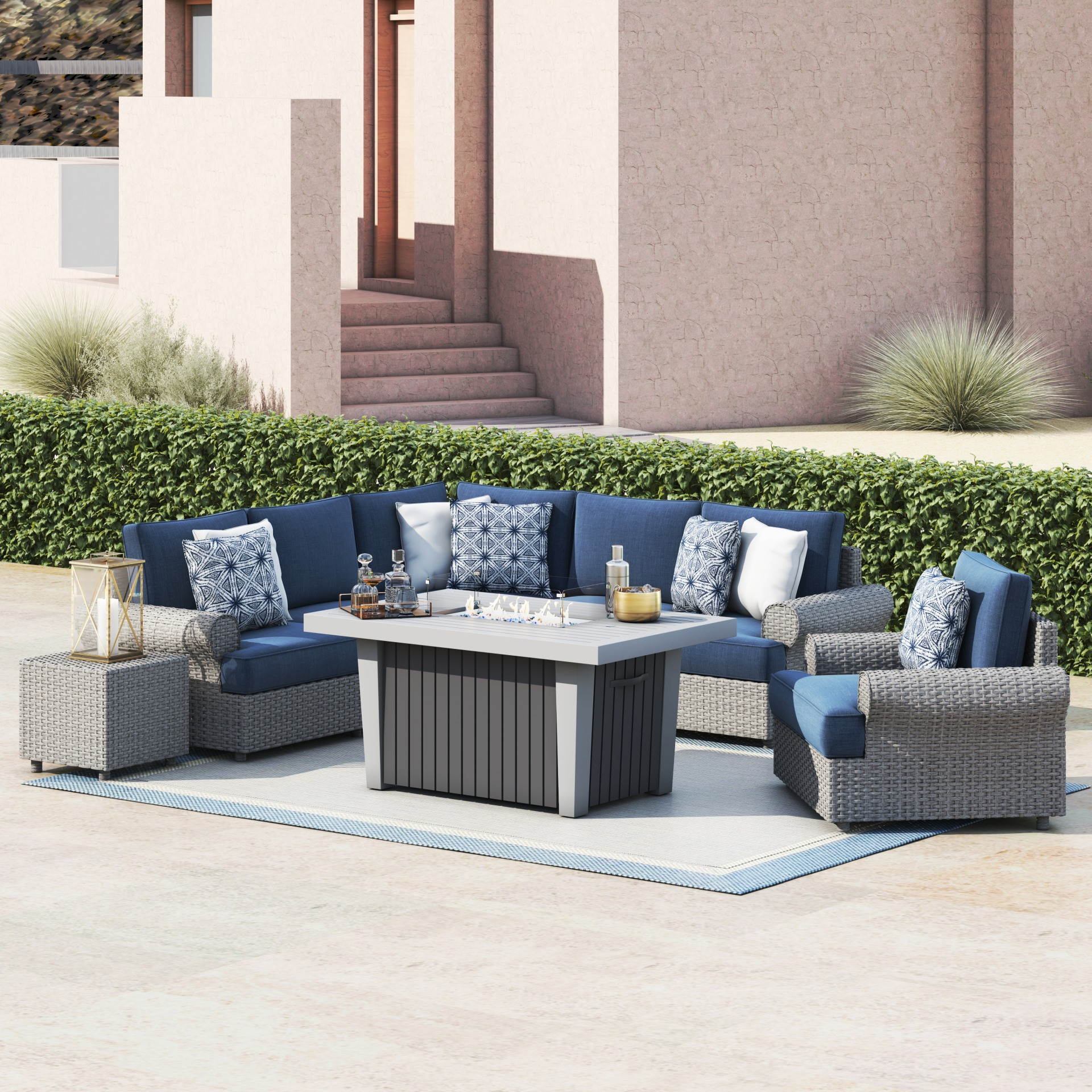 regency 8 piece seating set with fire table