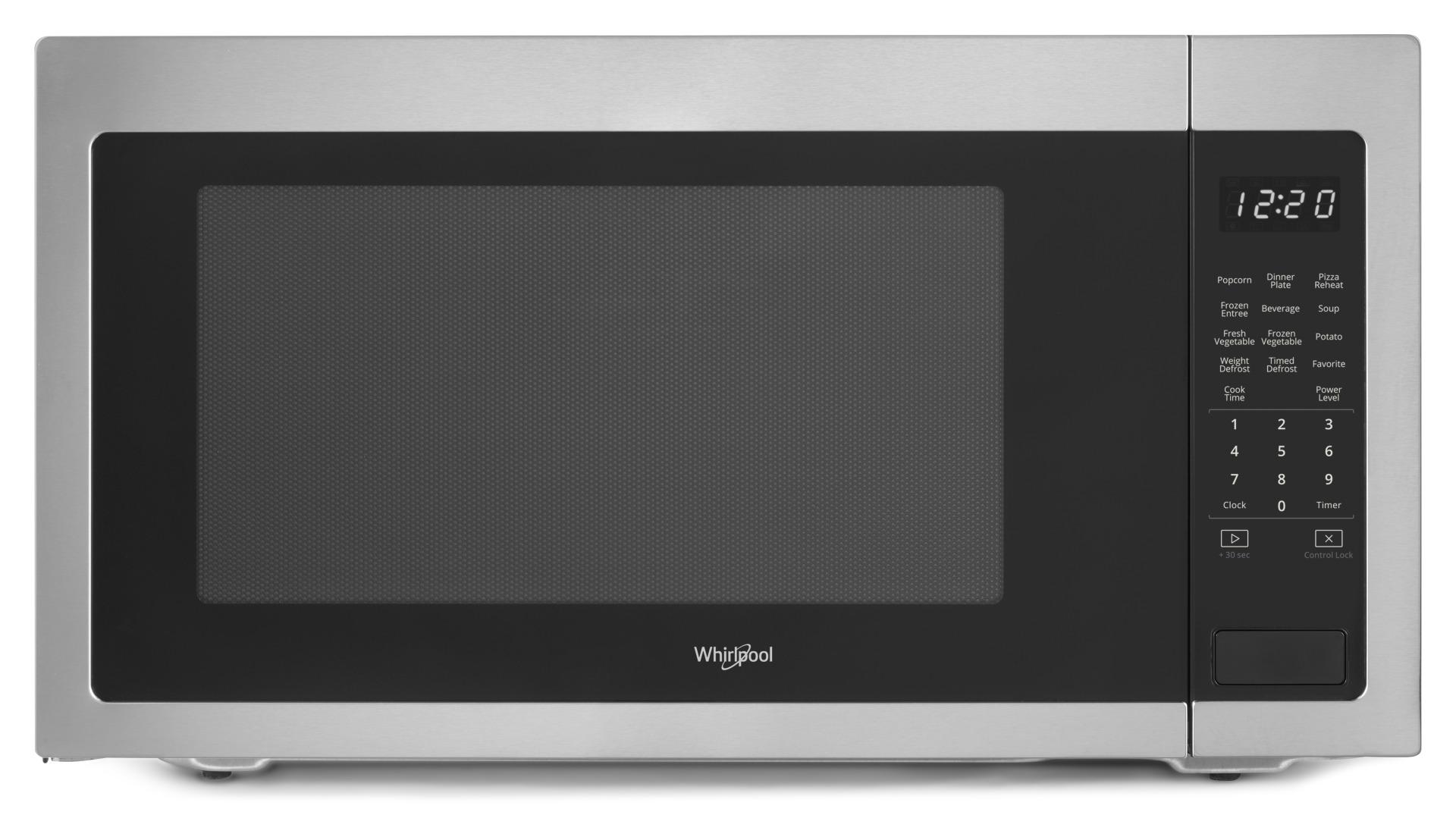 whirlpool 2 2 cu ft countertop microwave in stainless steel nfm