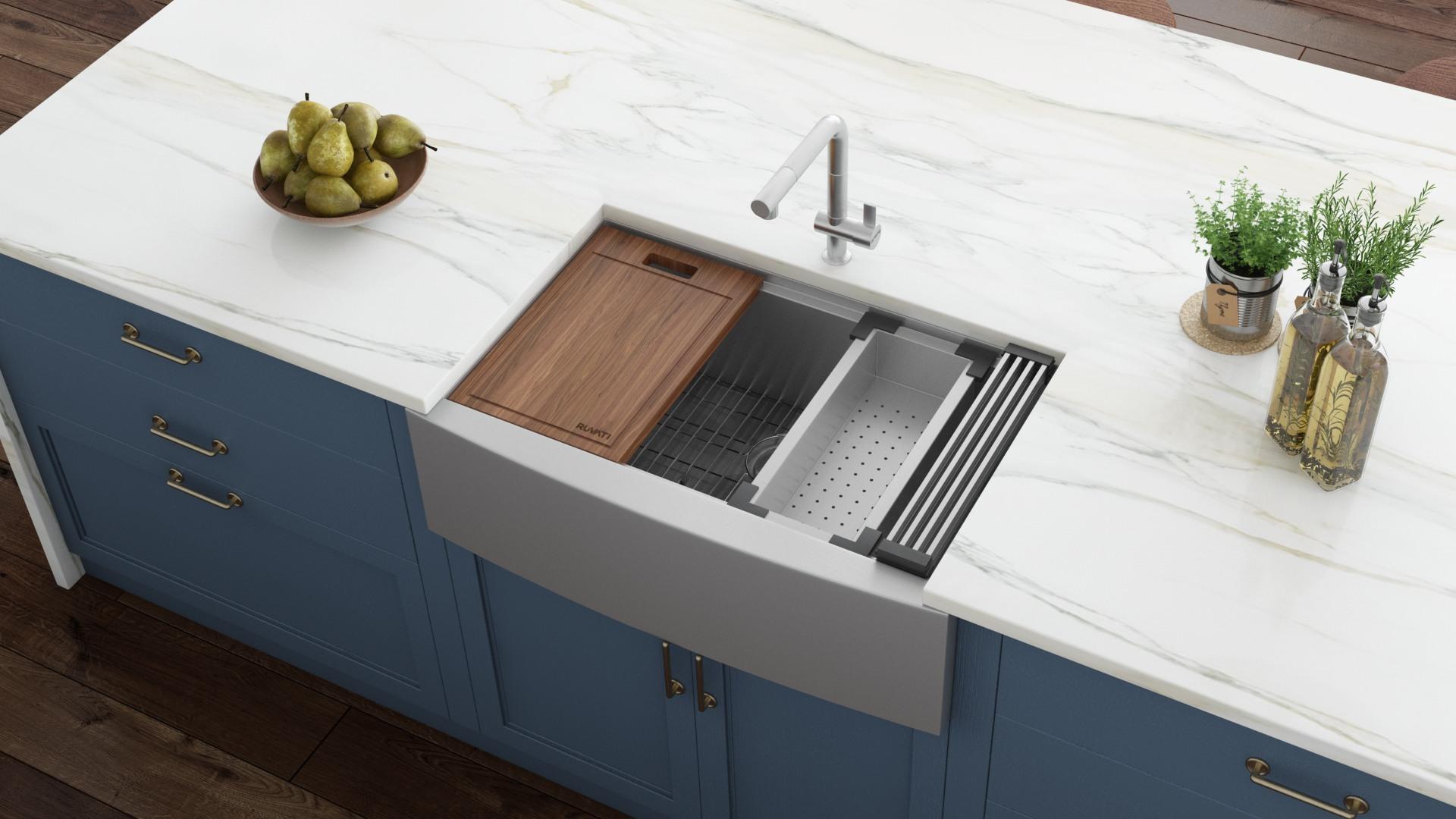 ruvati verona farmhouse apron front 27 in x 22 in stainless steel single bowl workstation kitchen sink