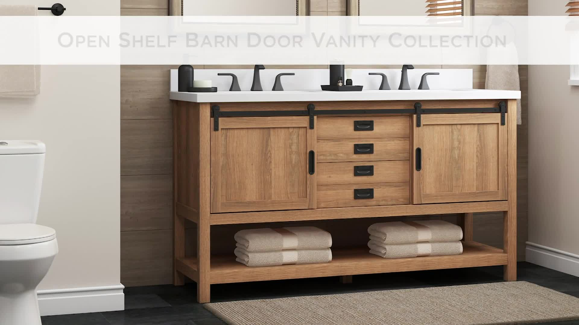 style selections 48 in brown undermount single sink bathroom vanity with white engineered stone top