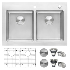ruvati modena drop in 33 in x 22 in brushed stainless double offset bowl 2 hole kitchen sink
