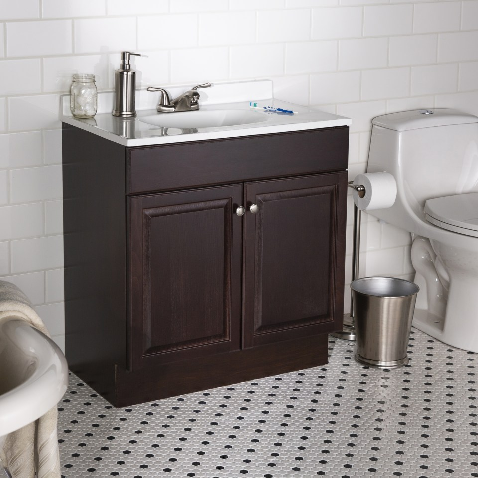 project source 30 in java brown single sink bathroom vanity with white cultured marble top
