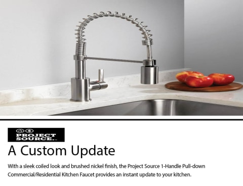 project source brushed nickel 1 handle deck mount pull down handle kitchen faucet deck plate included