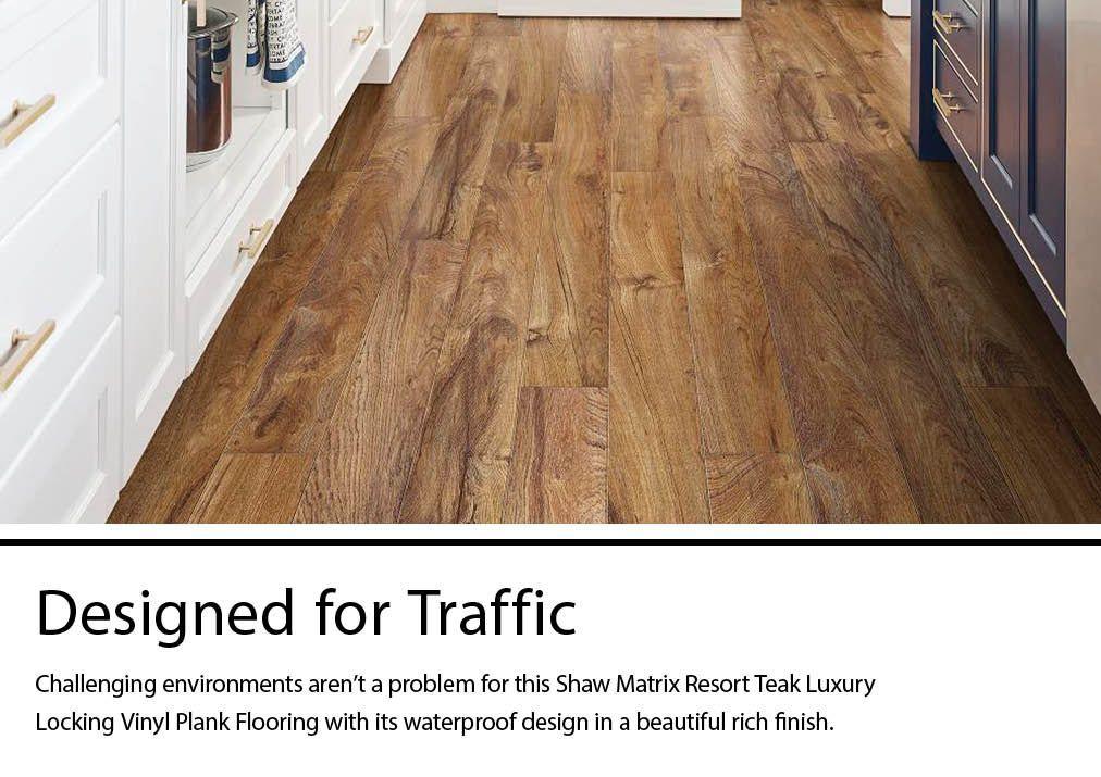 shaw matrix resort teak 5 9 in x 48 in waterproof interlocking luxury vinyl plank flooring 27 58 sq ft