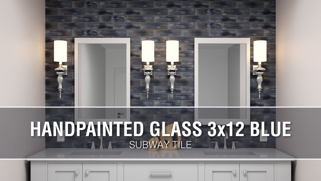 elida ceramica blue 3 in x 12 in glossy glass subway wall tile