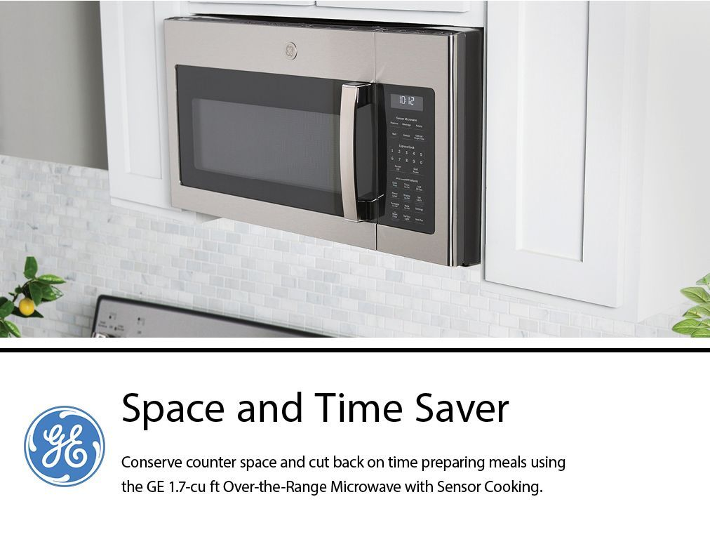 ge 1 7 cu ft over the range microwave with sensor cooking fingerprint stainless steel