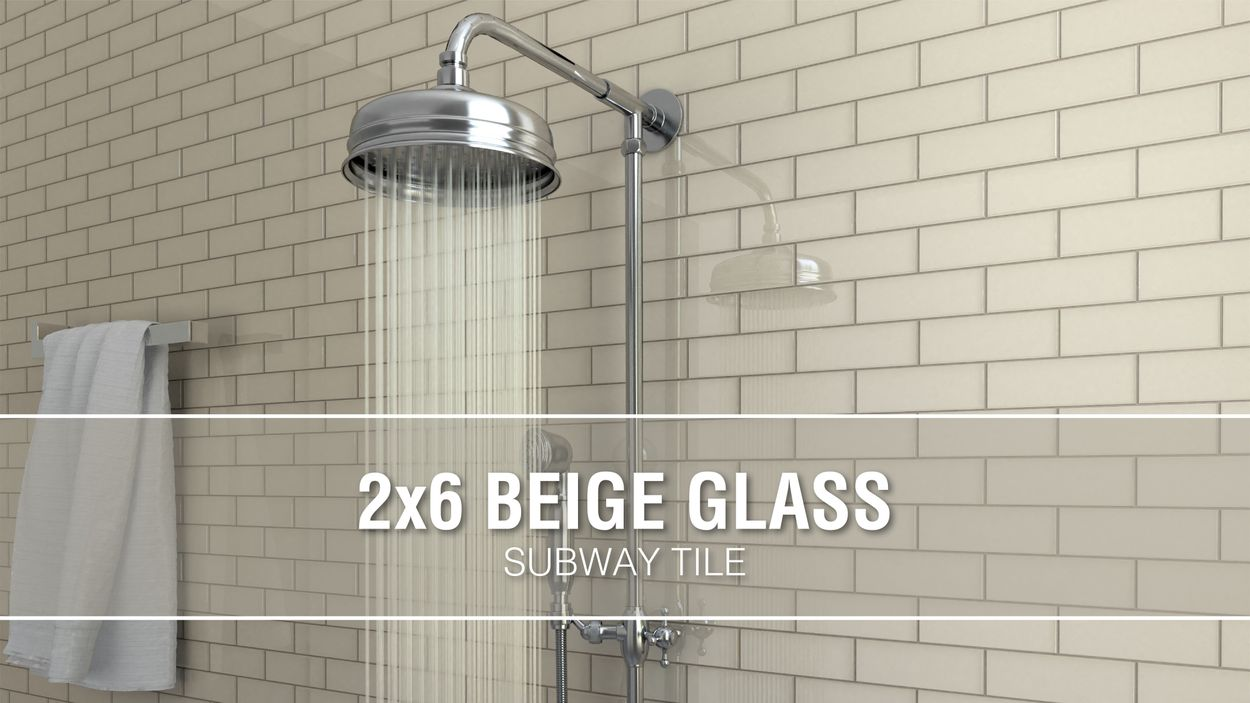 elida ceramica 2x6 beige mos glass 12 in x 12 in glossy glass brick subway wall tile