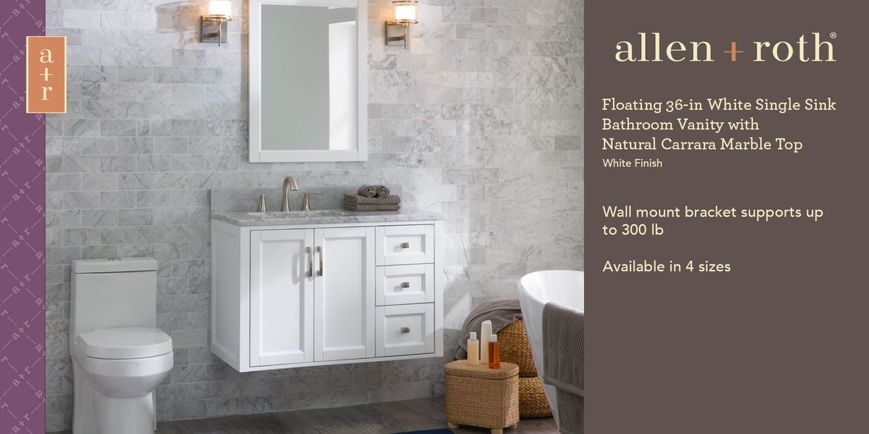 Allen Roth Floating 36 In White Single Sink Bathroom Vanity With Natural Carrara Marble Top In The Bathroom Vanities With Tops Department At Lowes Com