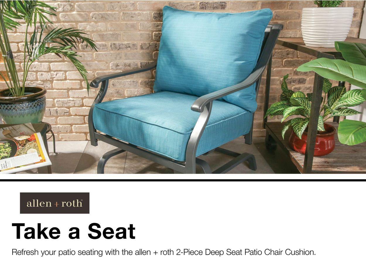 allen roth sunbrella 2 piece deep sea deep seat patio chair cushion