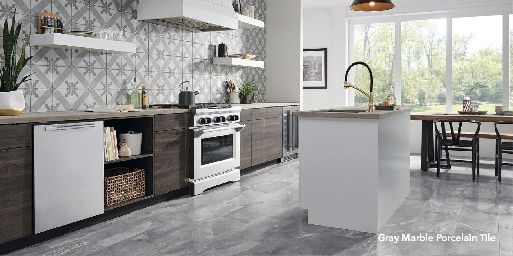 mohawk foreverstyle gray marble 12 in x 24 in lappato porcelain marble look floor tile