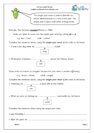 Verbs In The Simple Past Tense Ks1