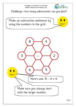 Hexagon Subtraction Challenge