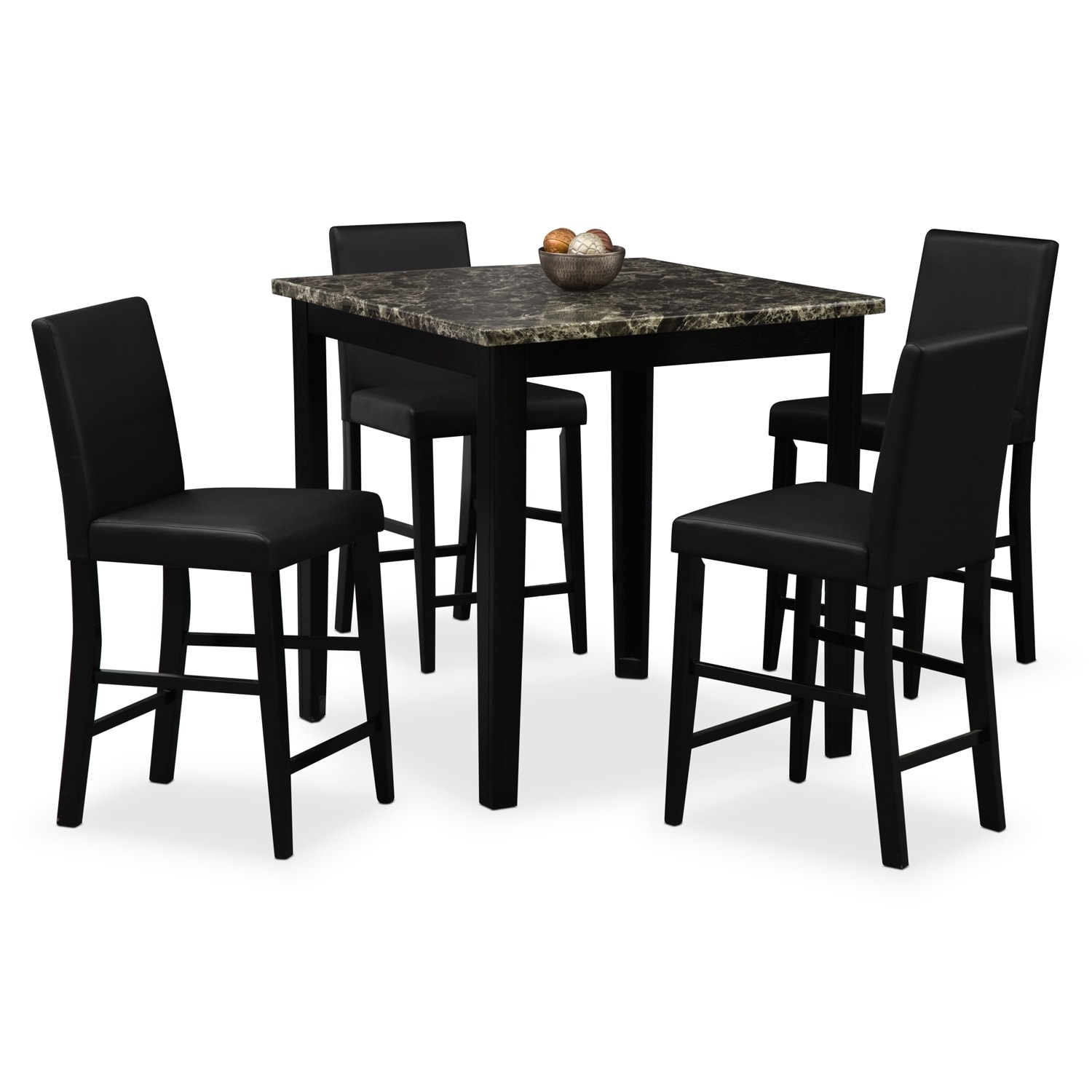 Shadow Counter Height Table And 4 Chairs Black Value City Furniture And Mattresses