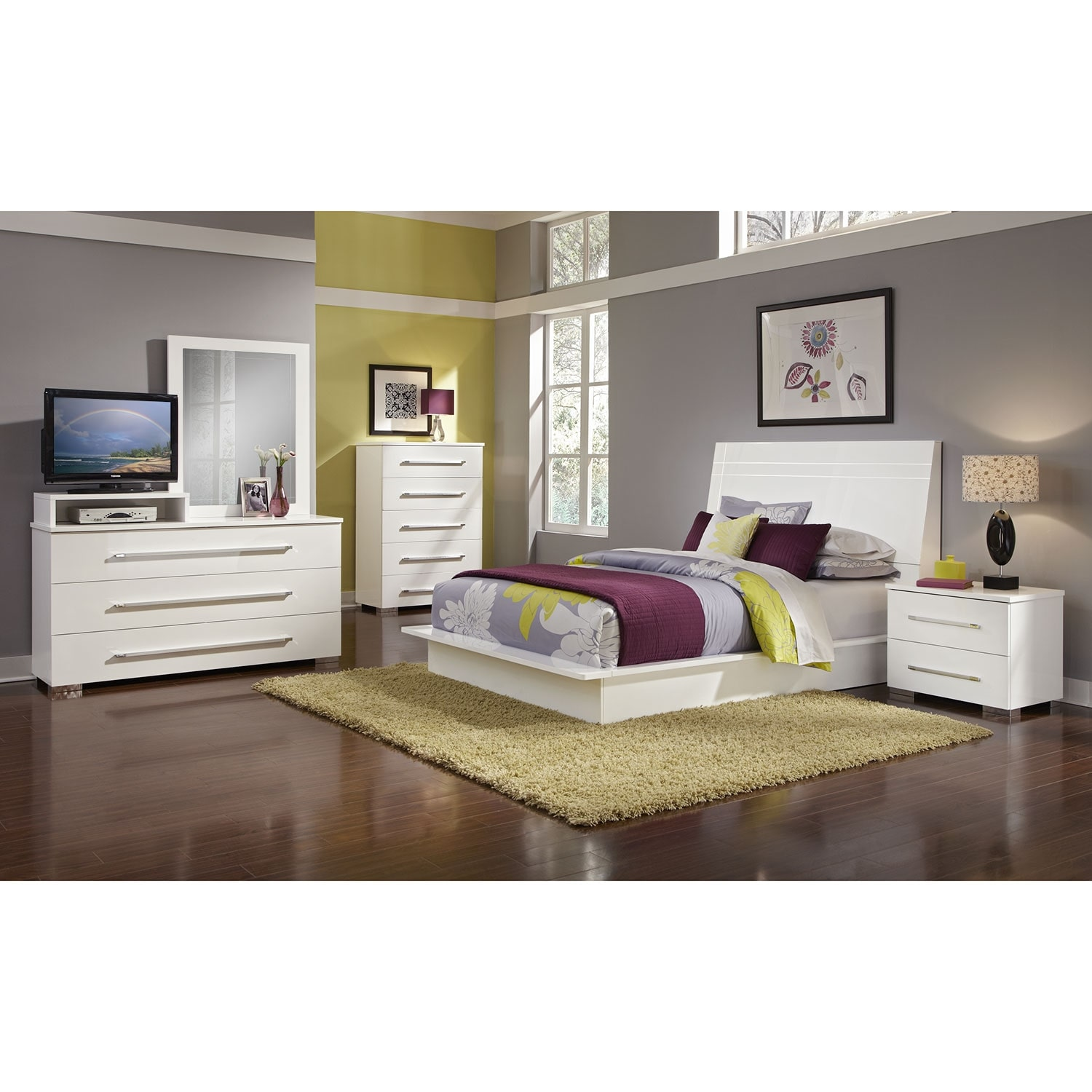 dimora media dresser and mirror - white | value city furniture and