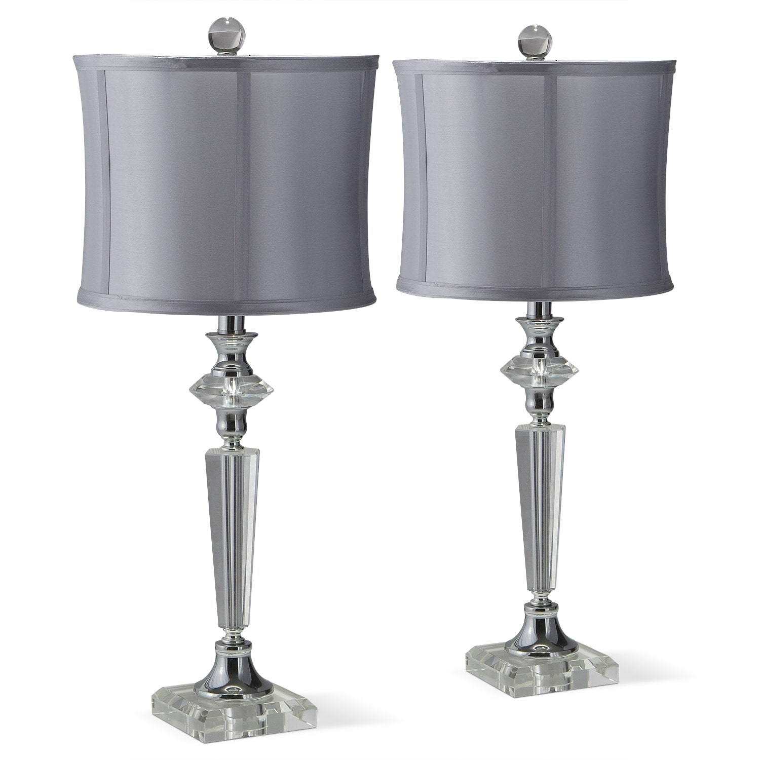 Crystal Silver 2 Pack Table Lamp Set Value City Furniture