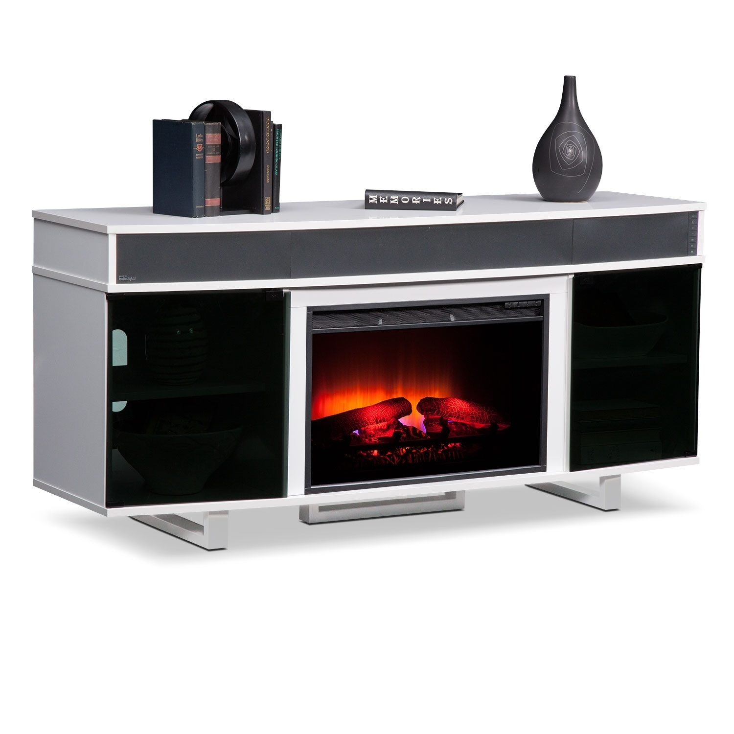Pacer 64 Traditional Fireplace TV Stand With Sound Bar White Value City Furniture And