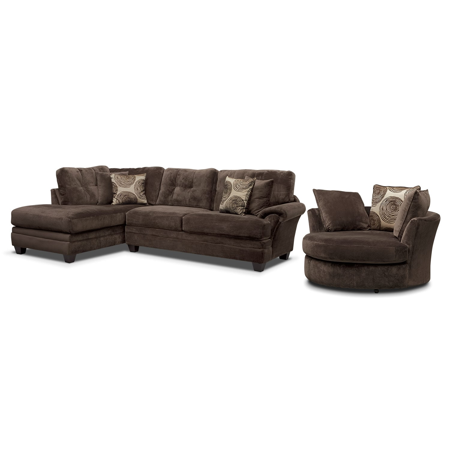 Cordelle 2 Piece Sectional With Chaise And Swivel Chair Set