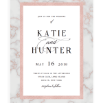 Marble And Rose Gold Wedding Invitation Cards Template
