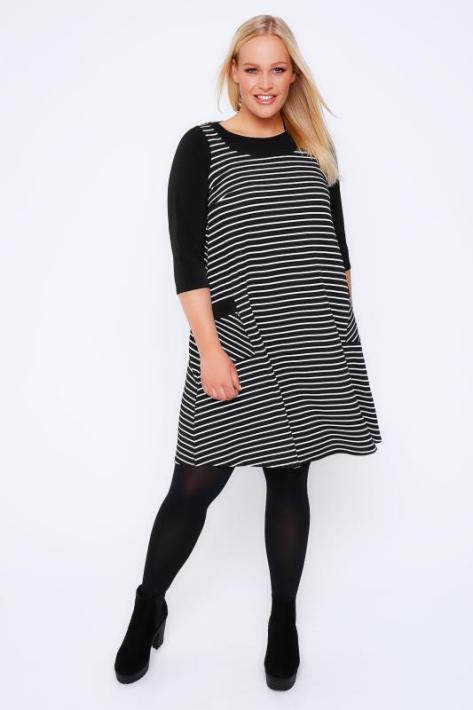 Black & White Stripe Pinafore Style Swing Dress