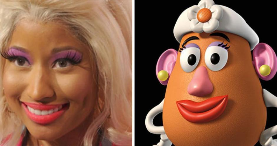 Nikki Minaj totally looks like Mr. Potato Head