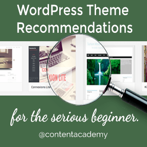 WordPress Theme recommendations for the serious beginner