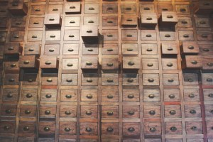 Old wooden drawers
