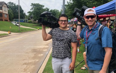 Working alongside KJRH Photojournalist Oscar Flores on Day 3 of Tulsa Tough