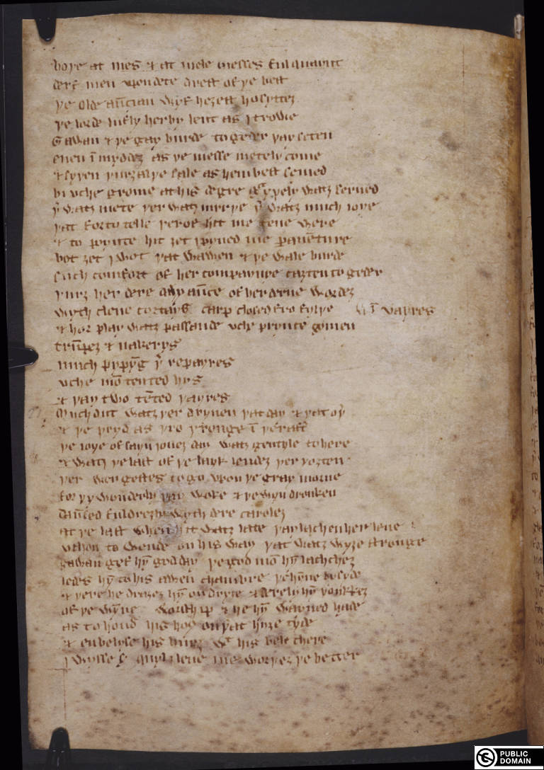 British Library MS Cotton Nero A.x. (art. 3) f. 104/108 verso (Sir Gawain and the Green Knight lines 999-1035)