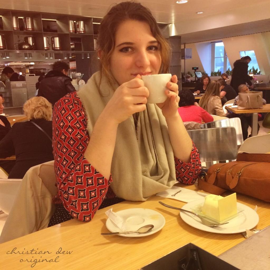 Christian's daughter, Mary, enjoying tea.