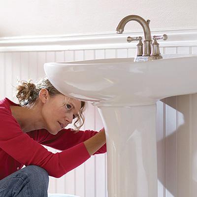 pedestal sink and toilet installation